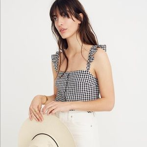 NWT MADEWELL RUFFLE-STRAP TOP IN GINGHAM CHECK